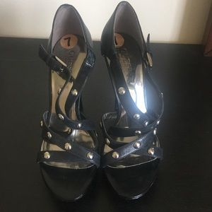 Guess by Marciano Black Leather Strappy Sandals